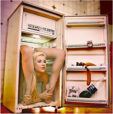 A woman doing yoga is in my refrigerator