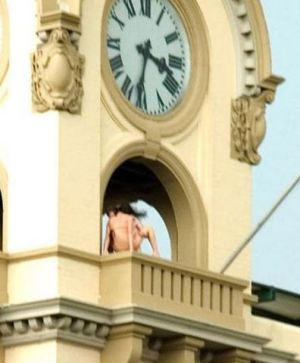 couple having sex in clock tower